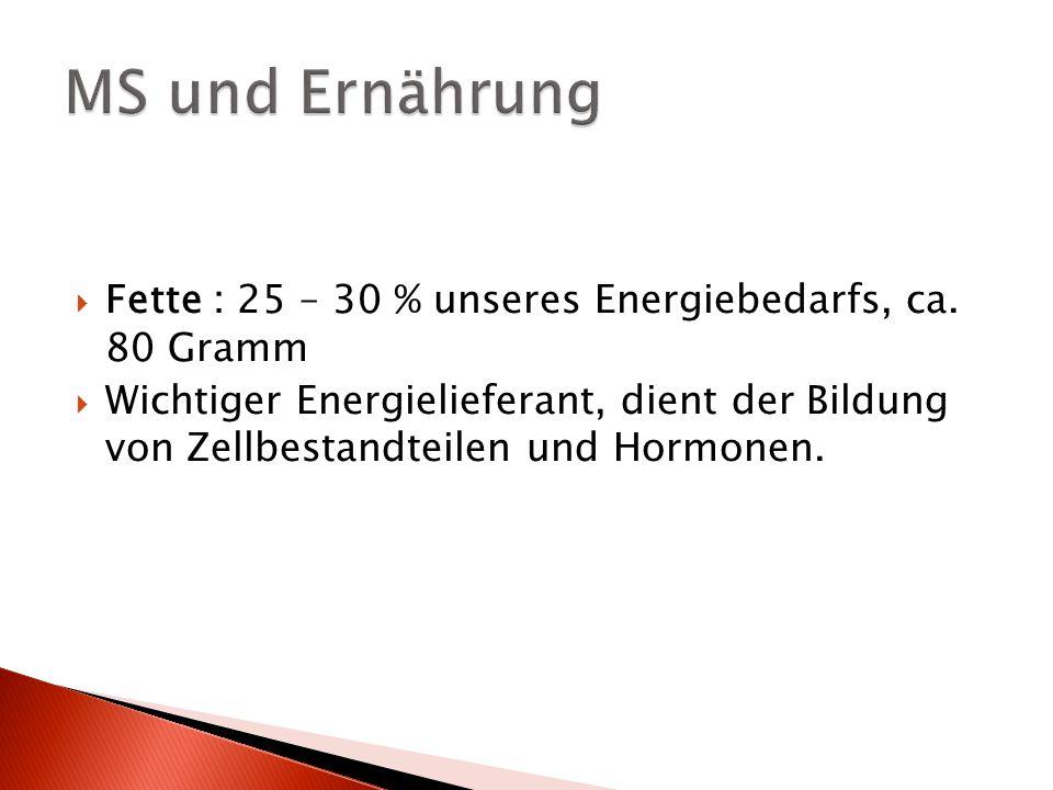 MS und Ernährung Fette : 25 – 30 % unseres Energiebedarfs, ca. 80 Gramm.