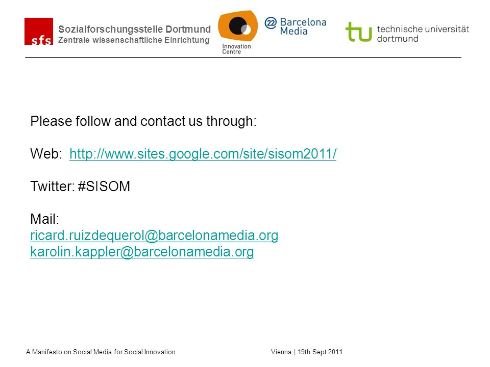 Please follow and contact us through: