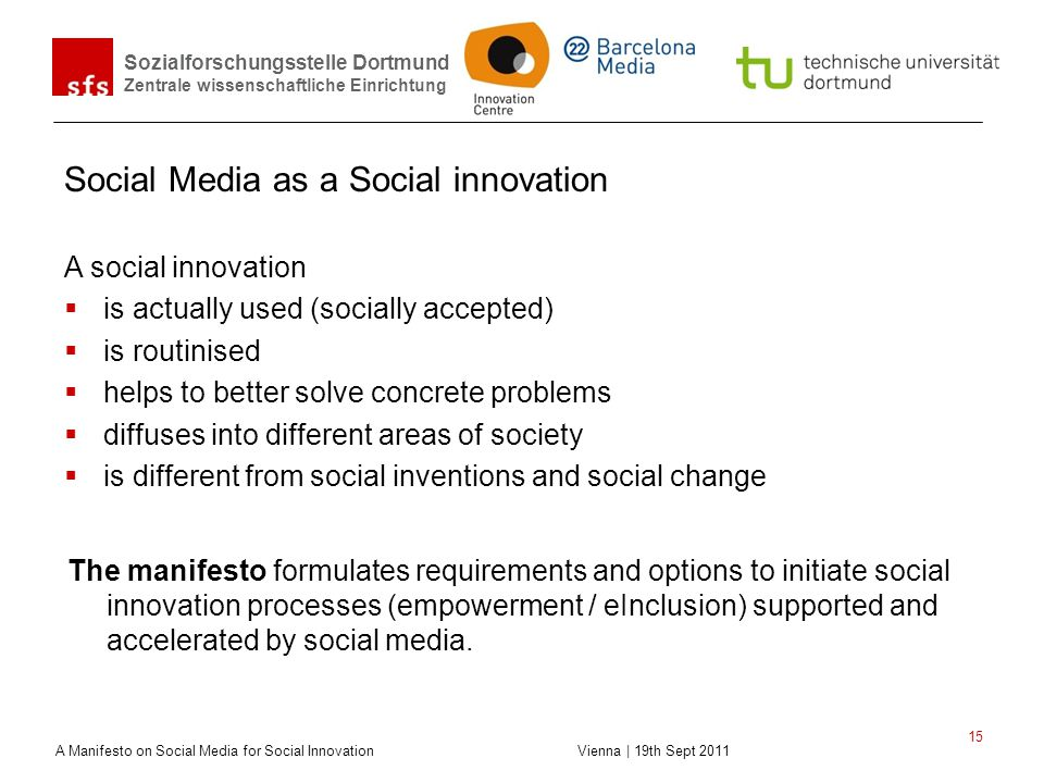 Social Media as a Social innovation