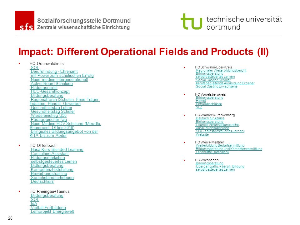 Impact: Different Operational Fields and Products (II)