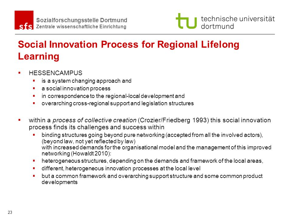 Social Innovation Process for Regional Lifelong Learning