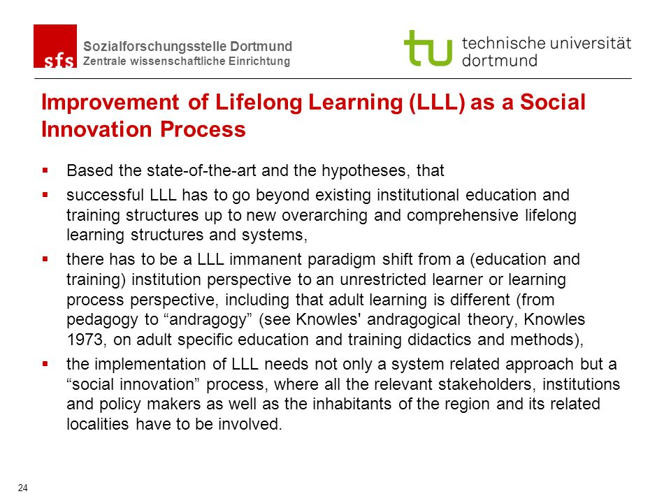 Improvement of Lifelong Learning (LLL) as a Social Innovation Process