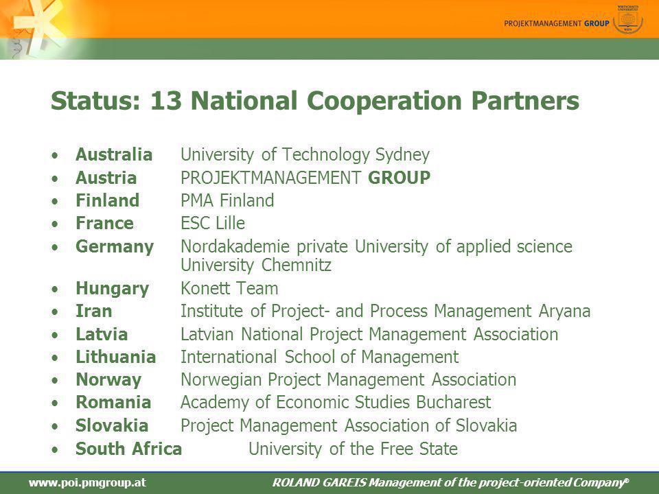 Status: 13 National Cooperation Partners