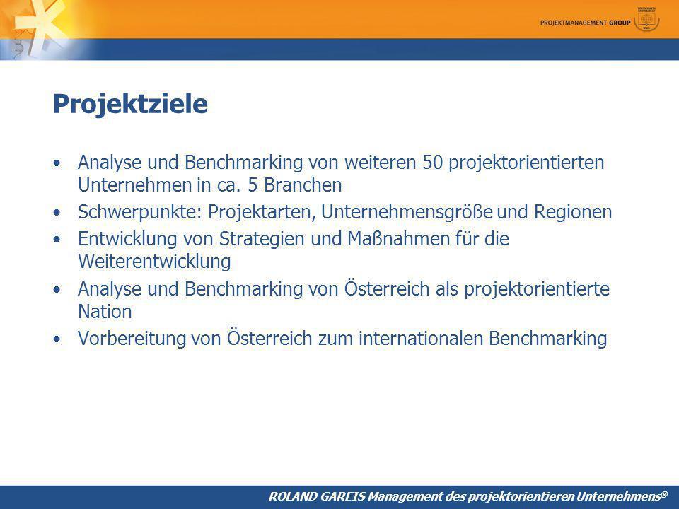 Projektziele Analyse und Benchmarking von weiteren 50 projektorientierten Unternehmen in ca. 5 Branchen.