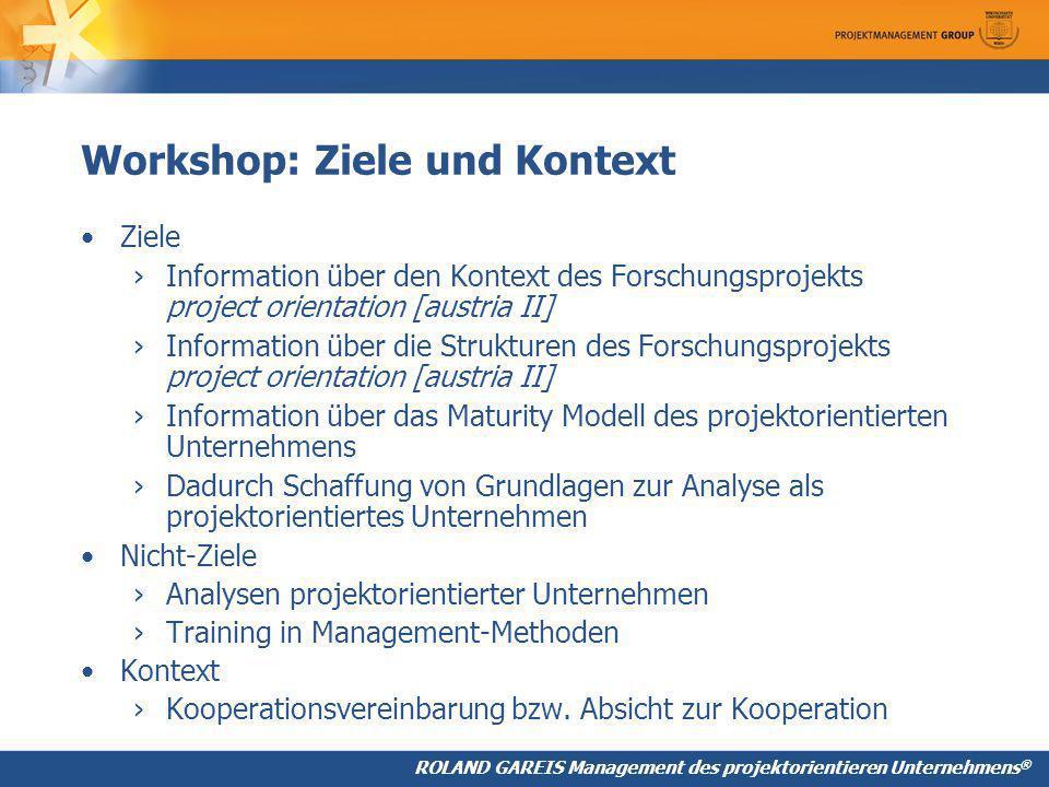 Workshop: Ziele und Kontext
