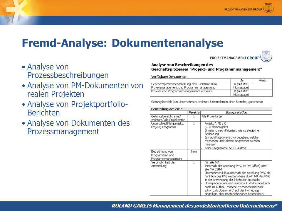 Fremd-Analyse: Dokumentenanalyse