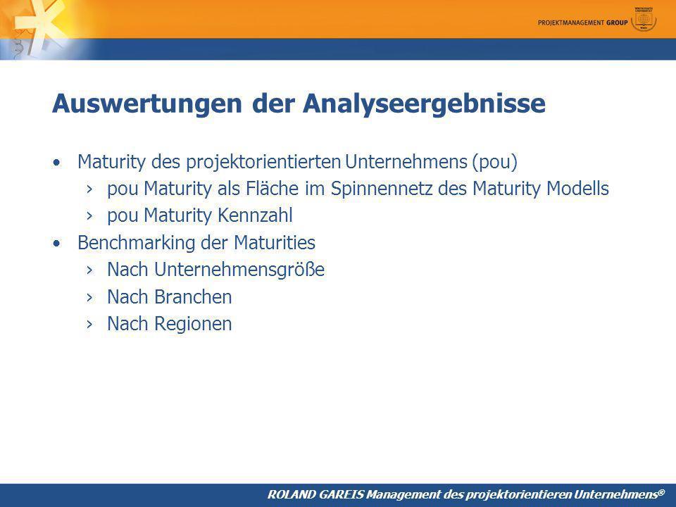 Auswertungen der Analyseergebnisse