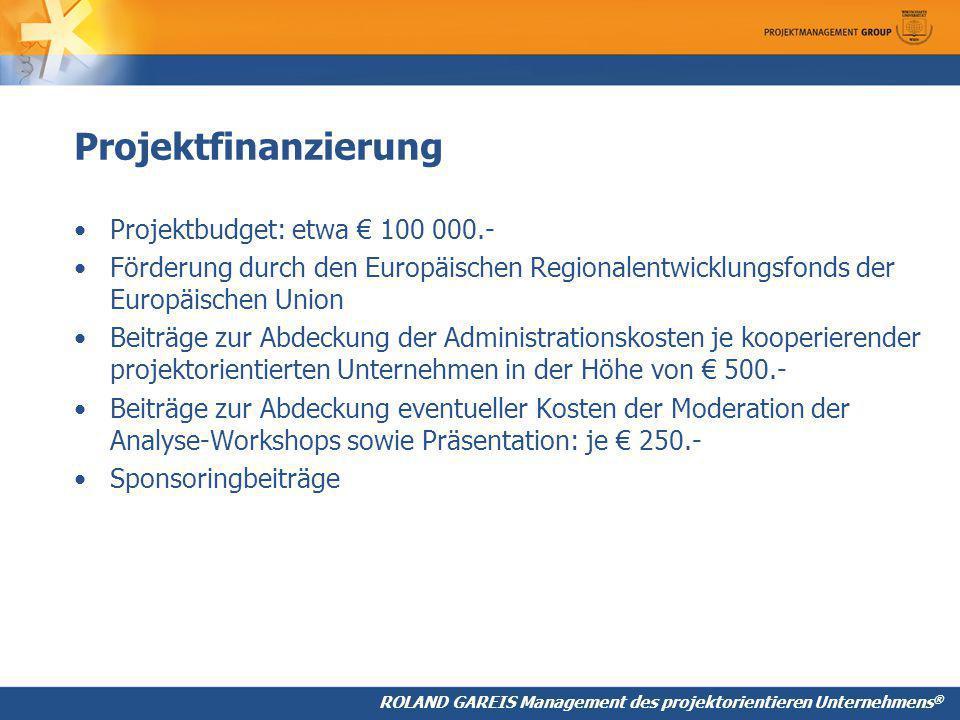 Projektfinanzierung Projektbudget: etwa € 100 000.-