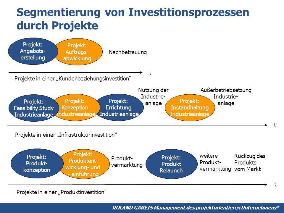 Segmentierung von Investitionsprozessen durch Projekte