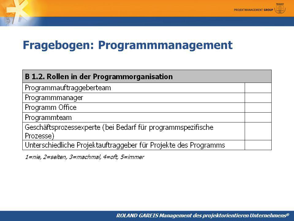 Fragebogen: Programmmanagement