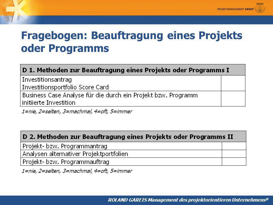 Fragebogen: Beauftragung eines Projekts oder Programms