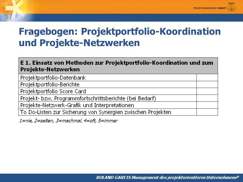 Fragebogen: Projektportfolio-Koordination und Projekte-Netzwerken