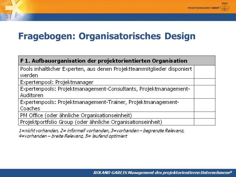 Fragebogen: Organisatorisches Design