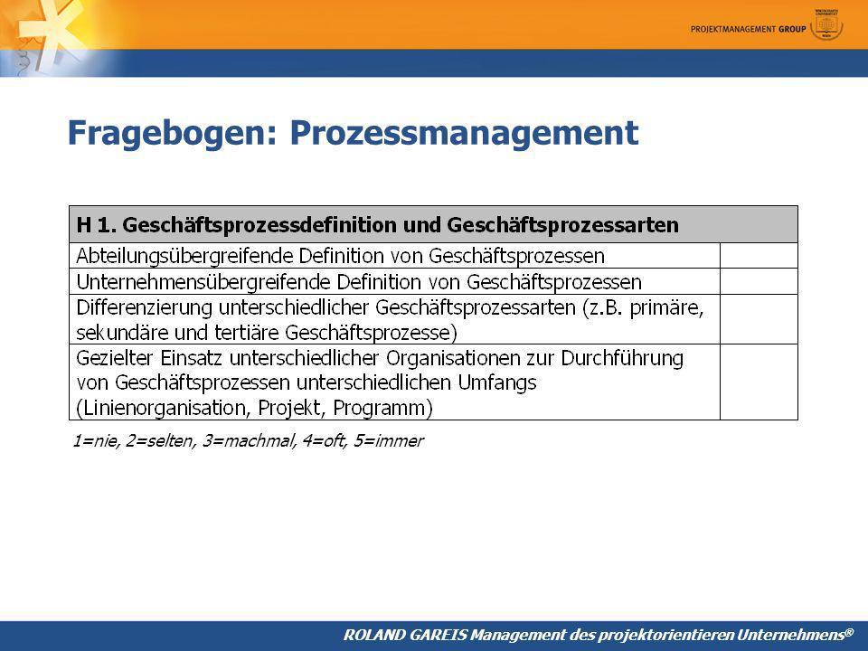 Fragebogen: Prozessmanagement