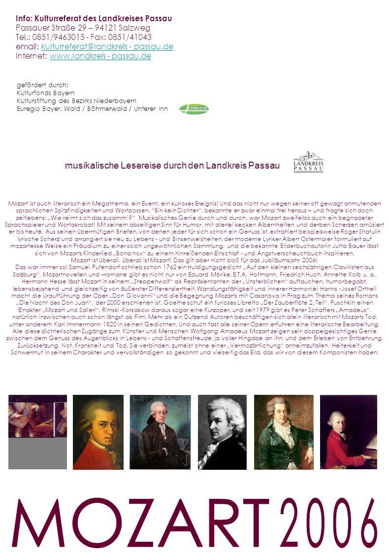 MOZART 2006 musikalische Lesereise durch den Landkreis Passau