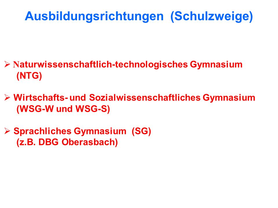 Ausbildungsrichtungen (Schulzweige)