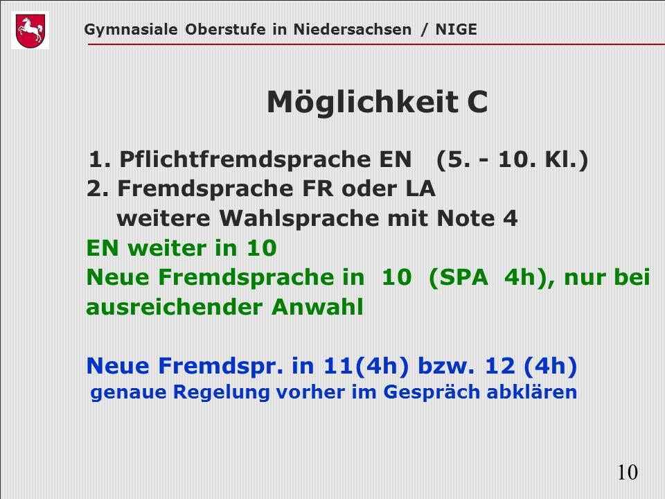 Möglichkeit C 1. Pflichtfremdsprache EN (5. - 10. Kl.)
