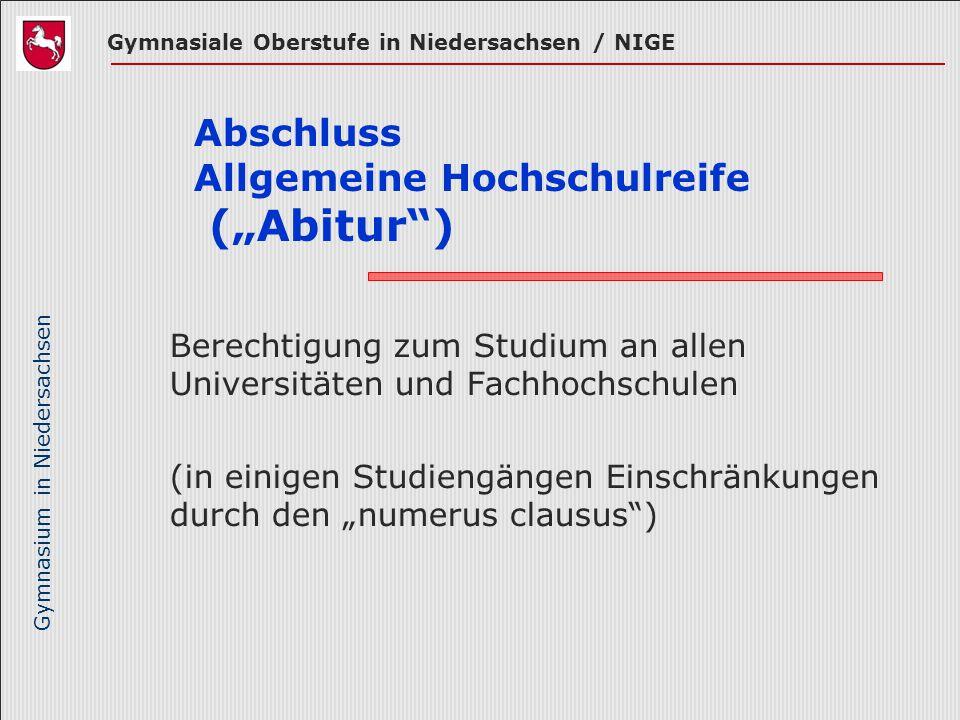 """Abschluss Allgemeine Hochschulreife (""""Abitur )"""