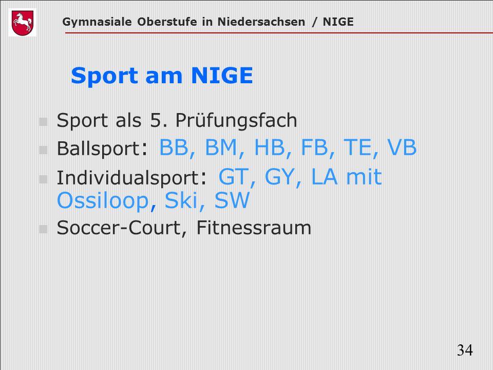 Sport am NIGE Sport als 5. Prüfungsfach