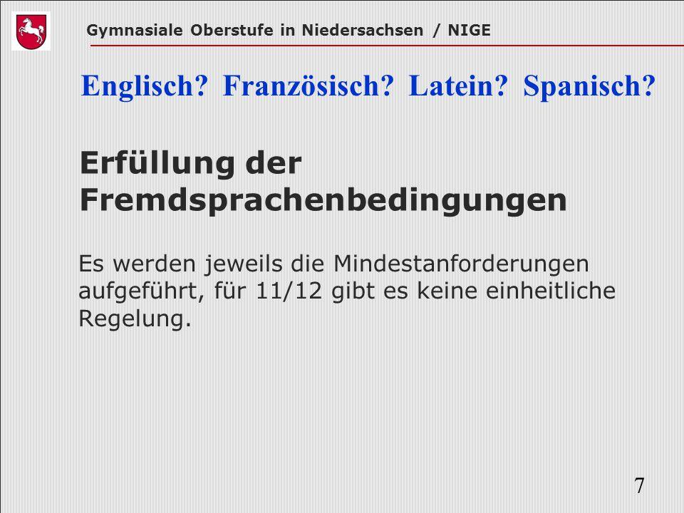 Erfüllung der Fremdsprachenbedingungen