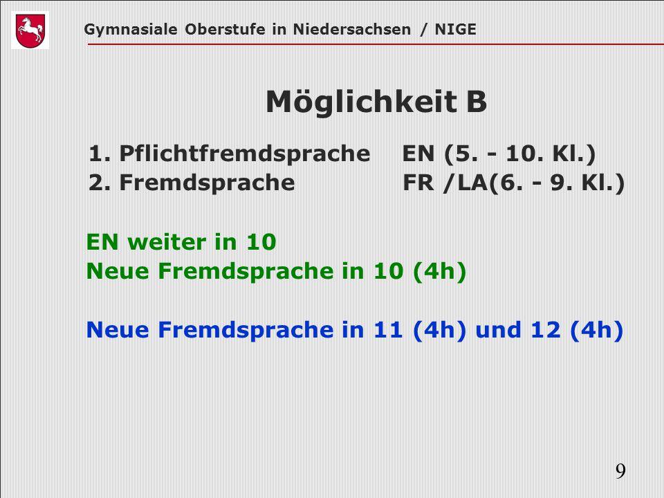 Möglichkeit B 1. Pflichtfremdsprache EN (5. - 10. Kl.)