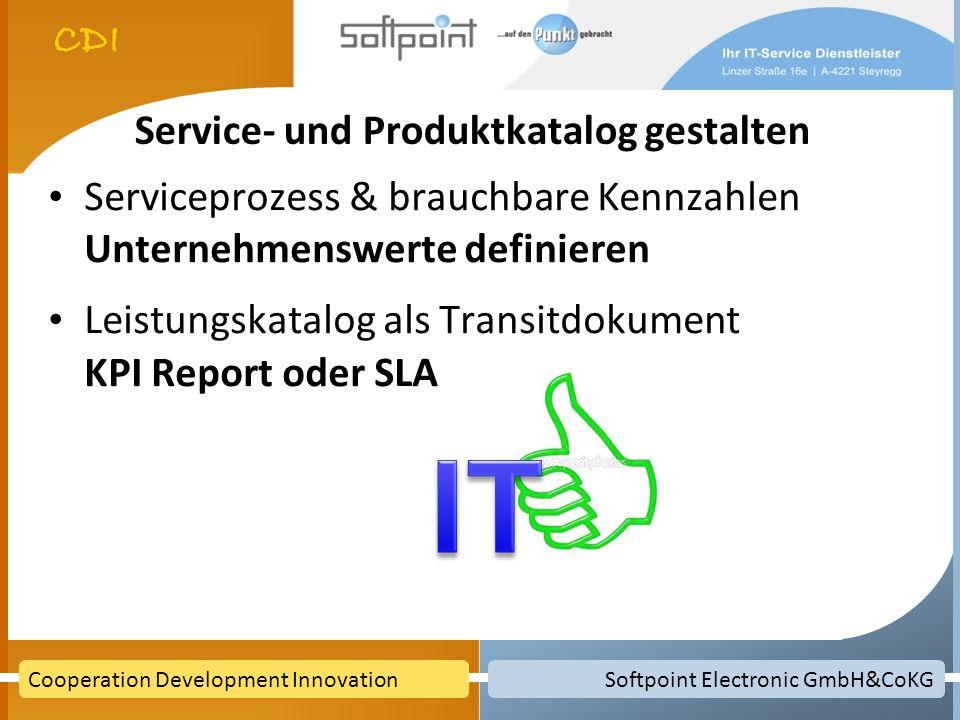 Service- und Produktkatalog gestalten