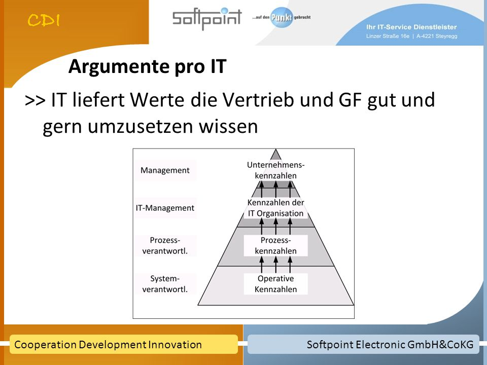 Argumente pro IT >> IT liefert Werte die Vertrieb und GF gut und gern umzusetzen wissen