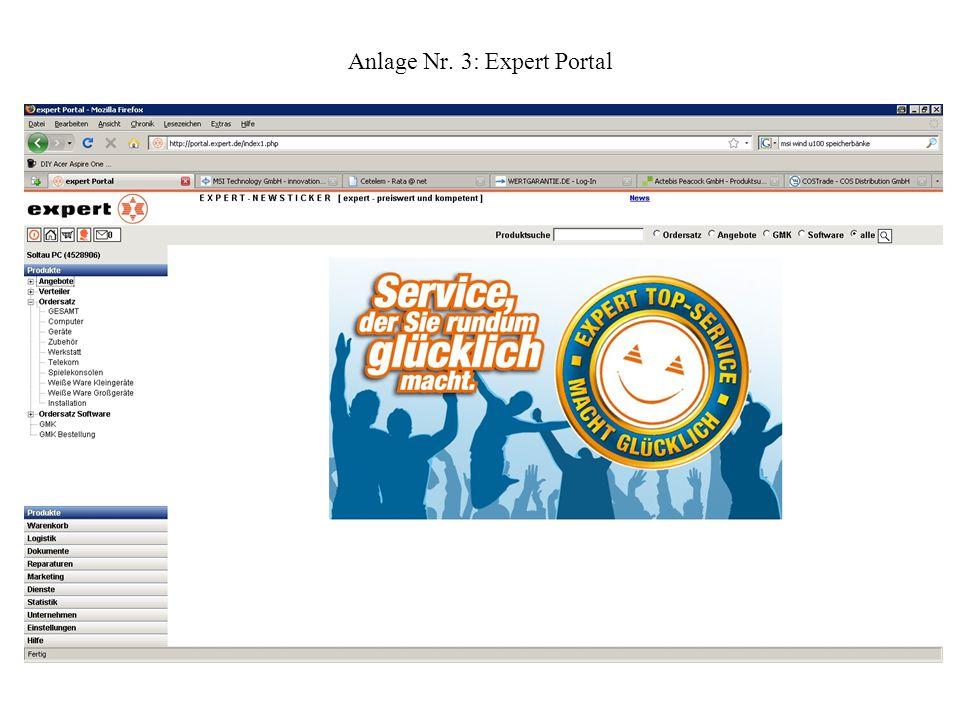 Anlage Nr. 3: Expert Portal