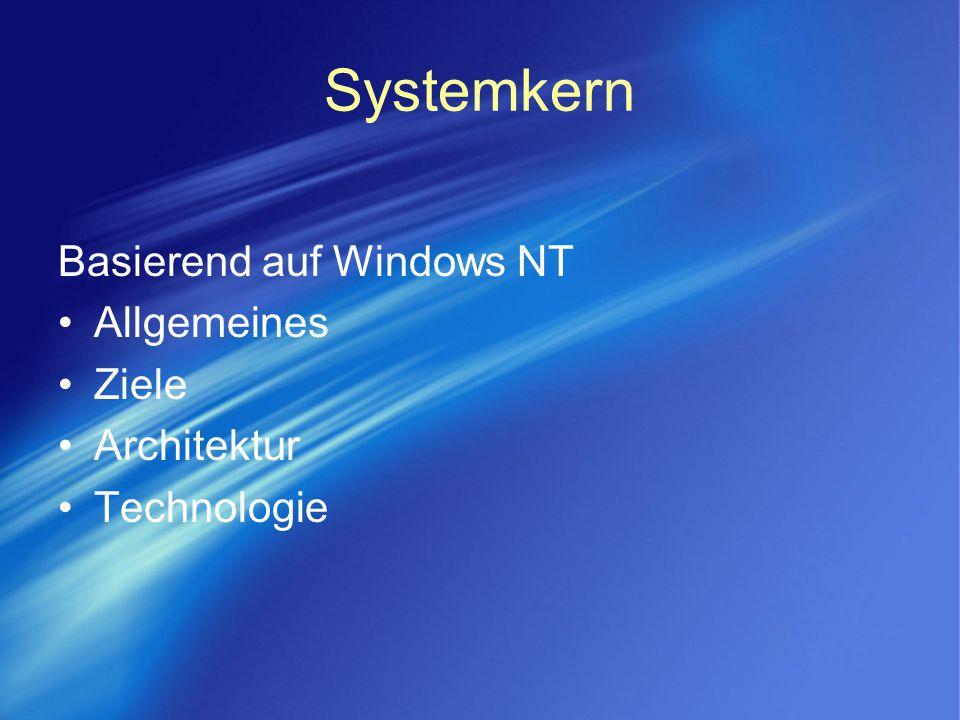 Systemkern Basierend auf Windows NT Allgemeines Ziele Architektur