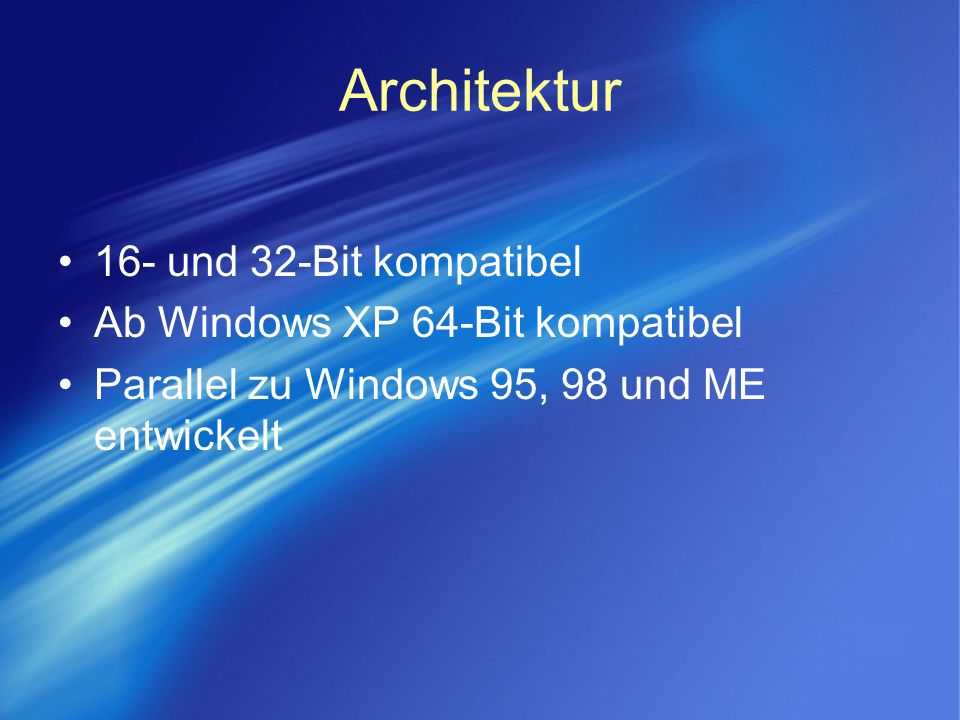 Architektur 16- und 32-Bit kompatibel Ab Windows XP 64-Bit kompatibel