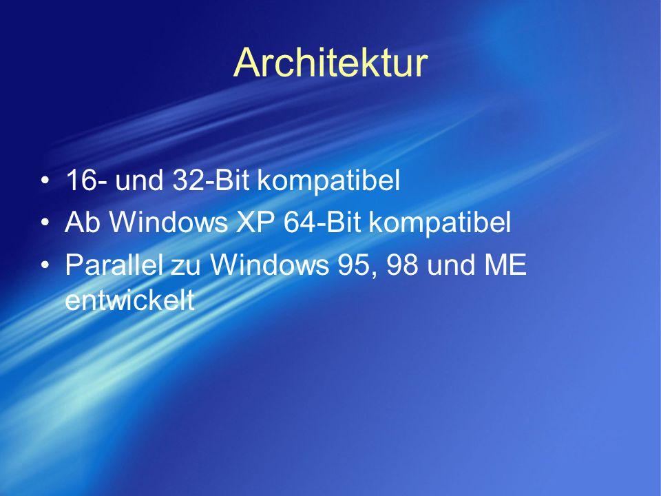Architektur 16- und 32-Bit kompatibel Ab Windows XP 64-Bit kompatibel