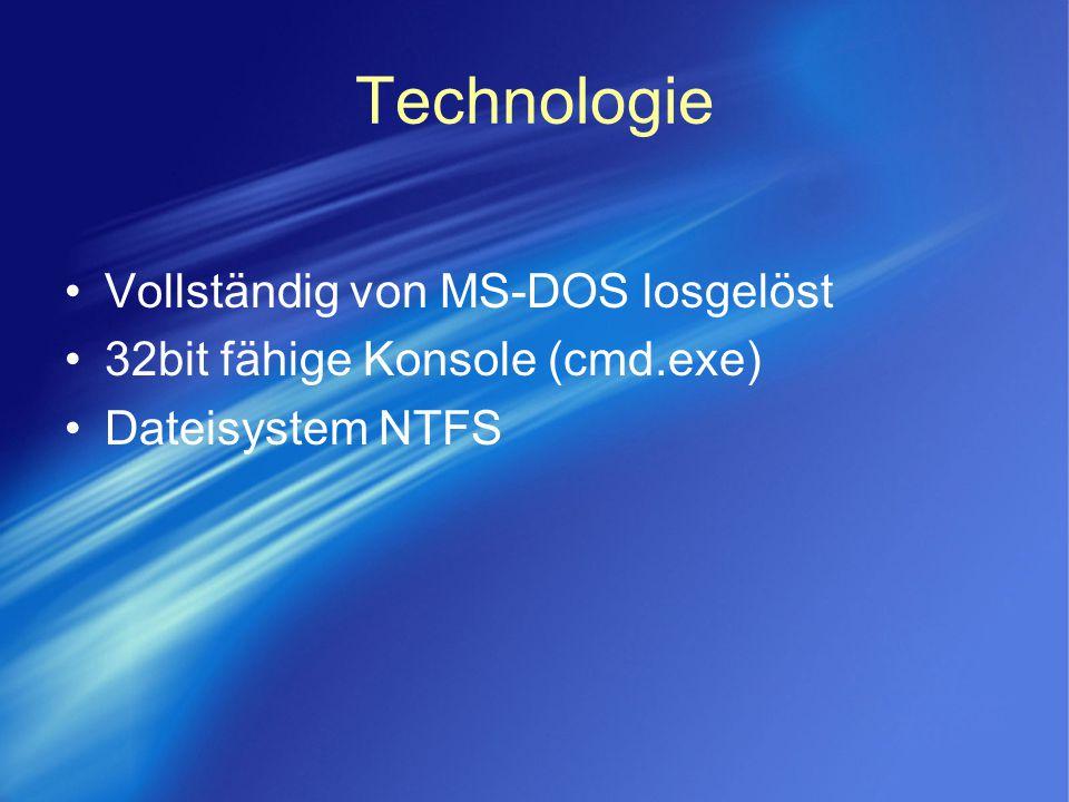 Technologie Vollständig von MS-DOS losgelöst