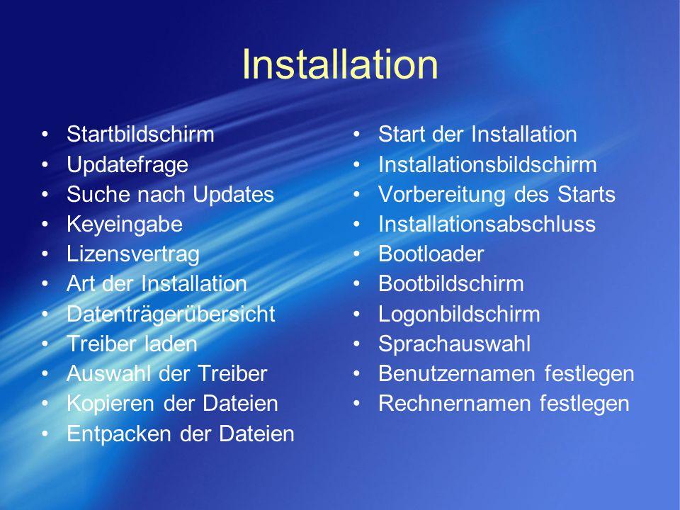 Installation Startbildschirm Updatefrage Suche nach Updates Keyeingabe