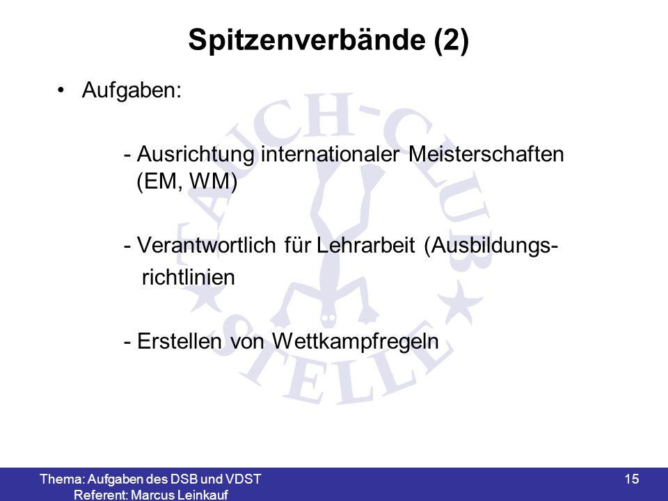 Thema: Aufgaben des DSB und VDST Referent: Marcus Leinkauf