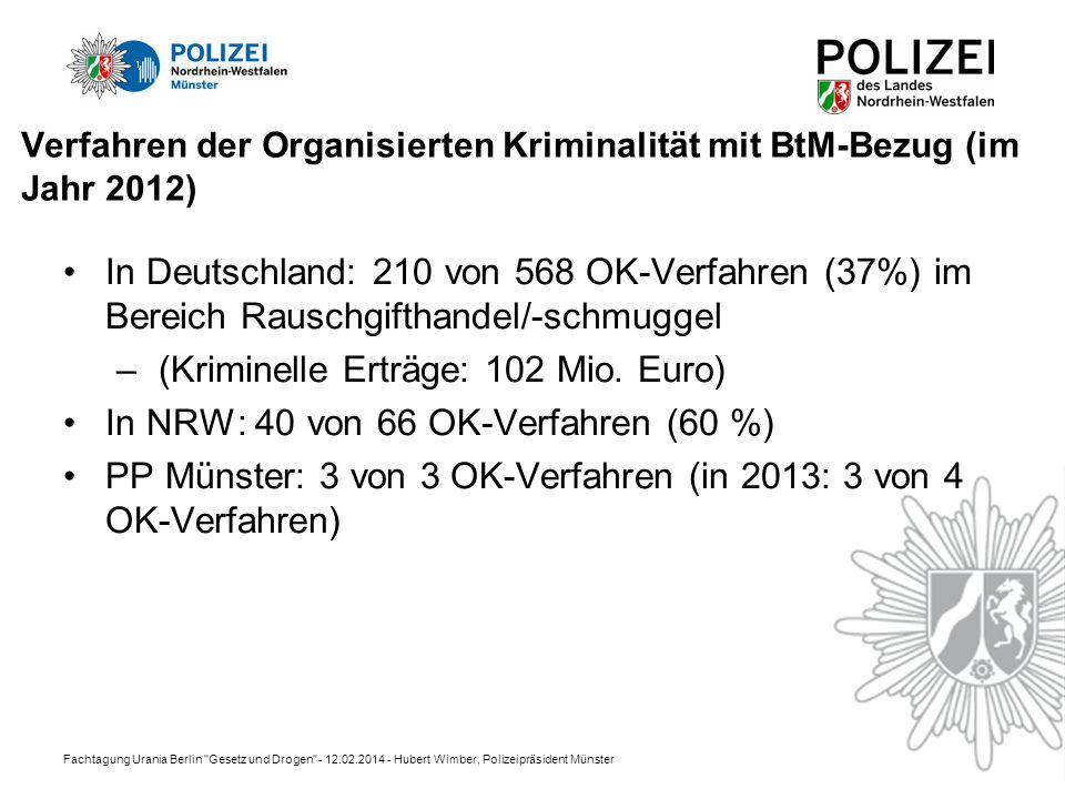 Verfahren der Organisierten Kriminalität mit BtM-Bezug (im Jahr 2012)