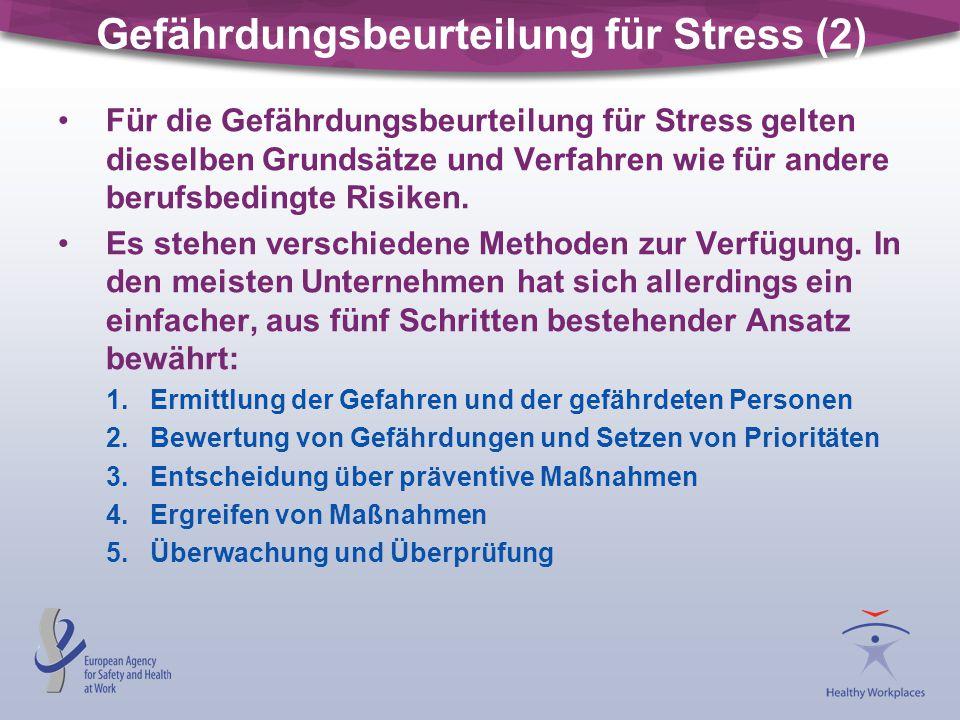 Gefährdungsbeurteilung für Stress (2)