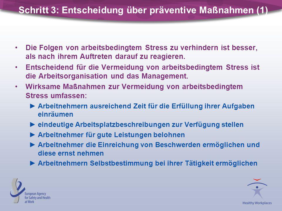 Schritt 3: Entscheidung über präventive Maßnahmen (1)