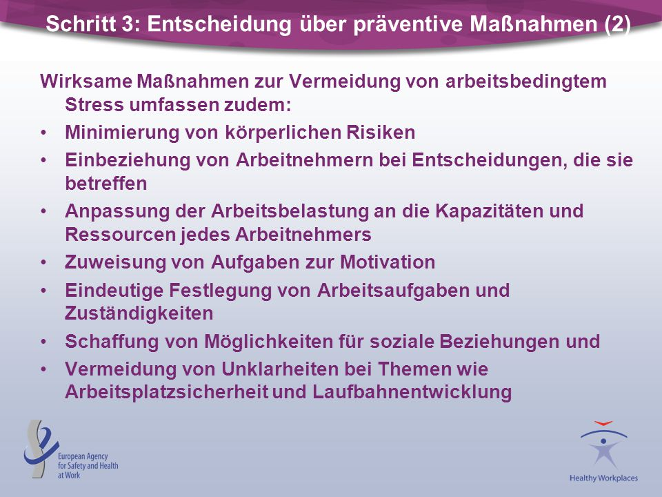 Schritt 3: Entscheidung über präventive Maßnahmen (2)