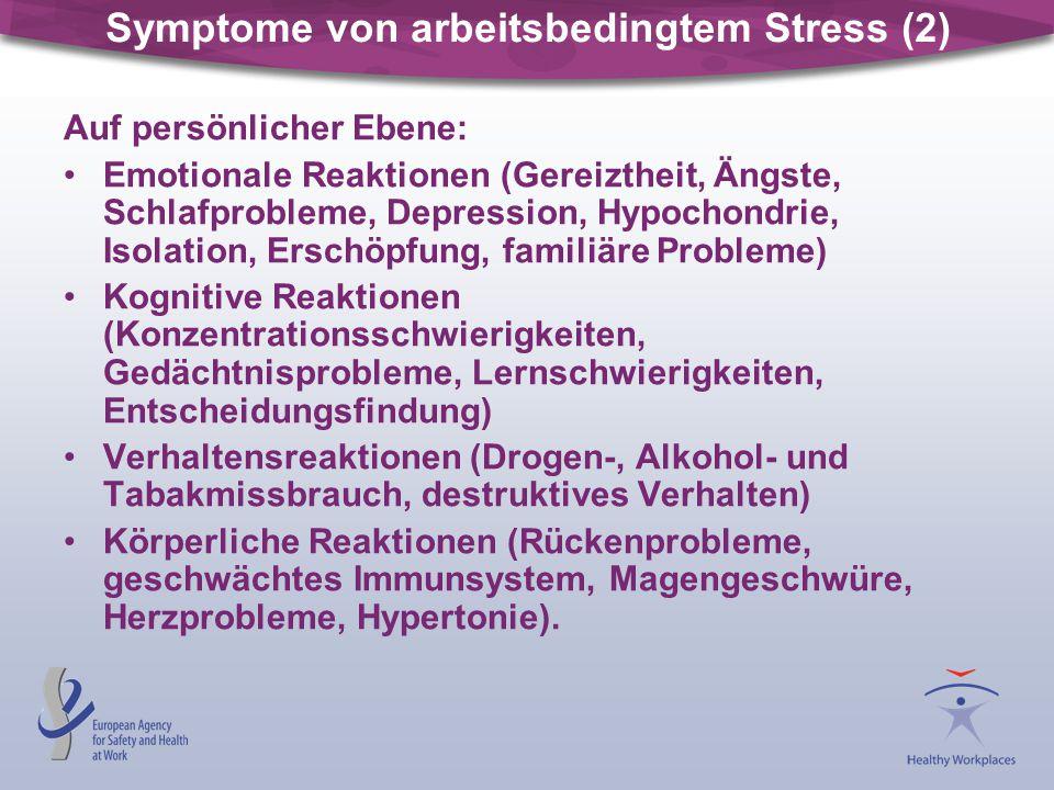 Symptome von arbeitsbedingtem Stress (2)