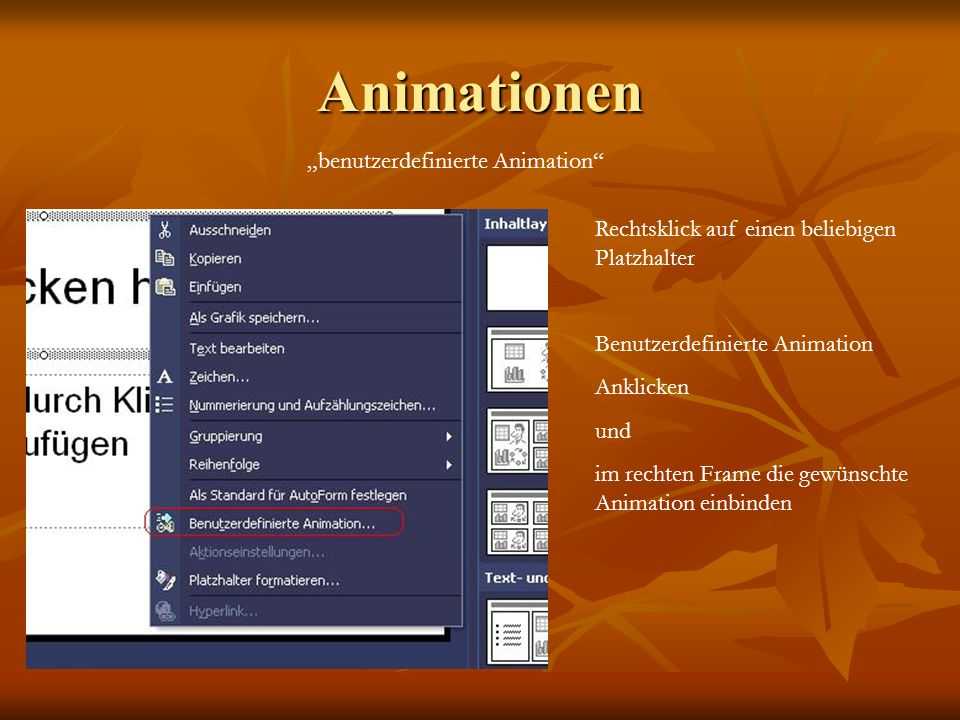 "Animationen ""benutzerdefinierte Animation"