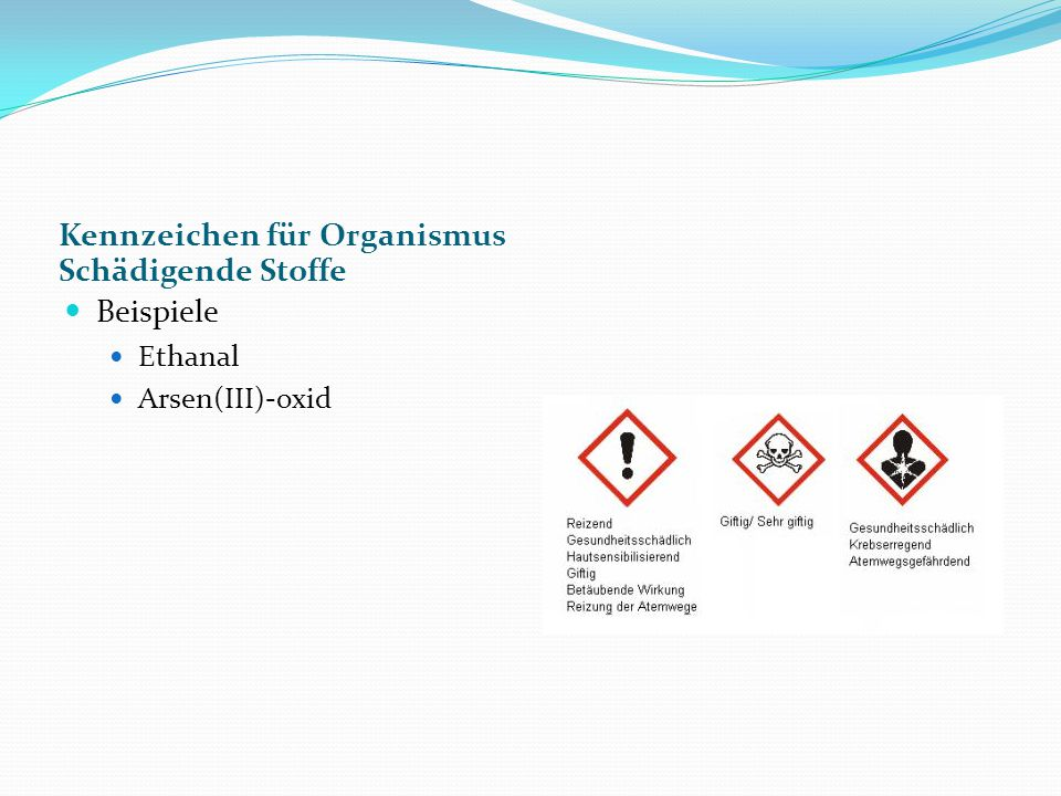 Kennzeichen für Organismus Schädigende Stoffe