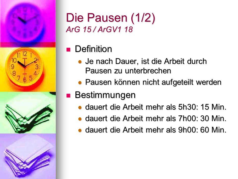 Die Pausen (1/2) ArG 15 / ArGV1 18