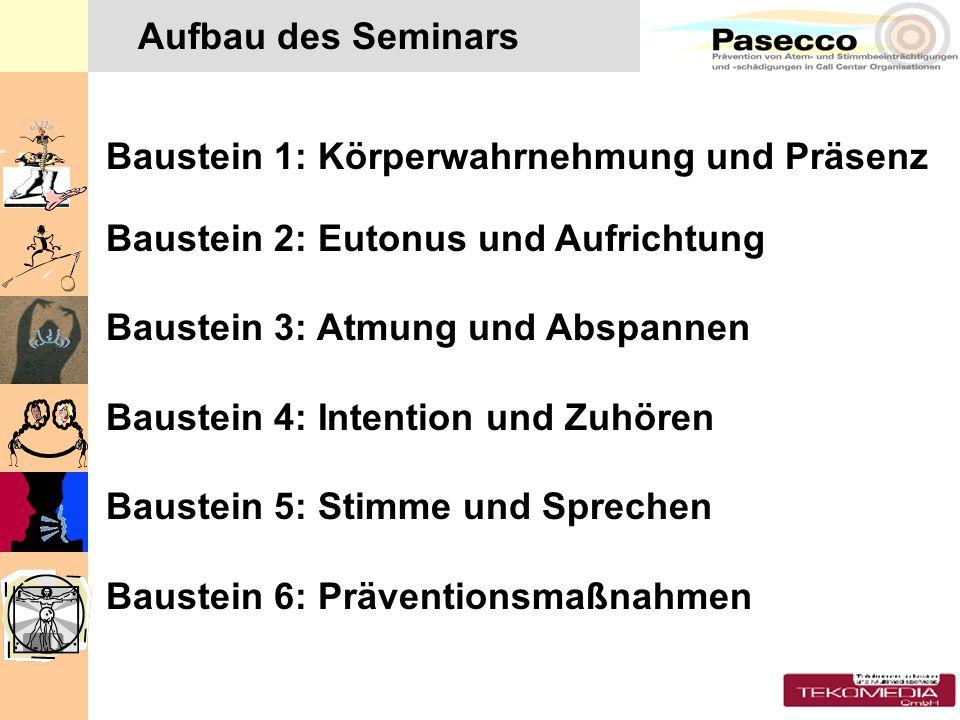 Aufbau des Seminars Baustein 1: Körperwahrnehmung und Präsenz. Baustein 2: Eutonus und Aufrichtung.