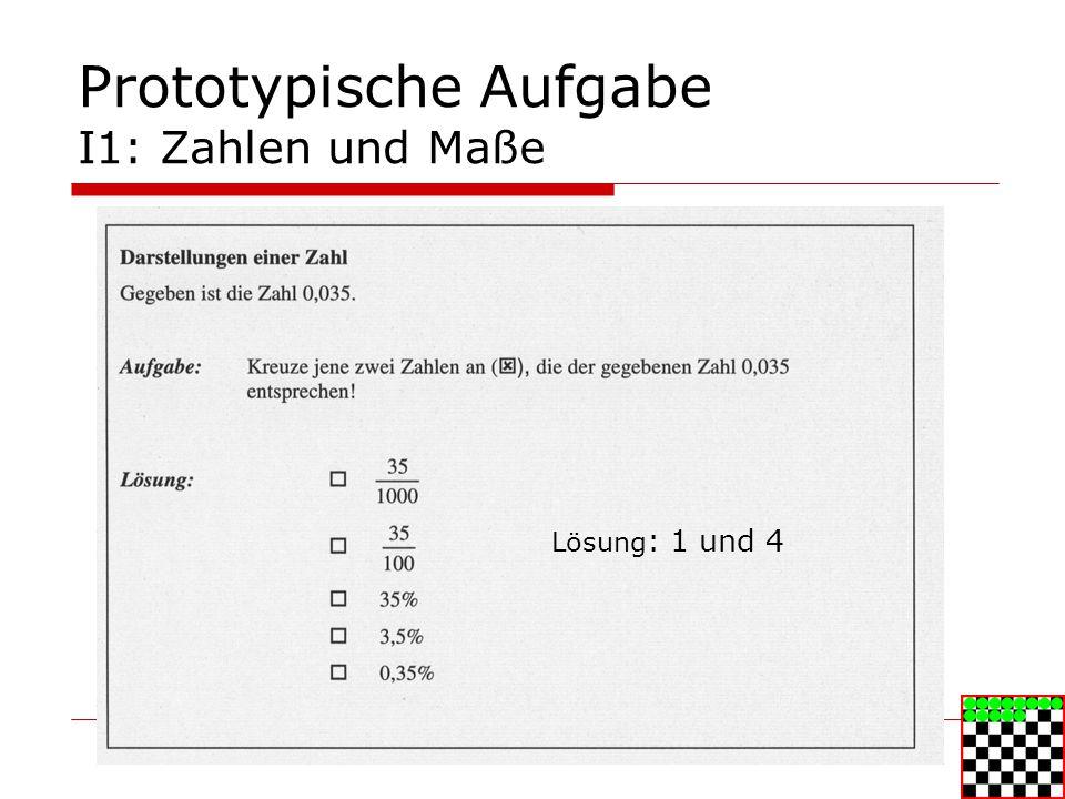 Prototypische Aufgabe I1: Zahlen und Maße