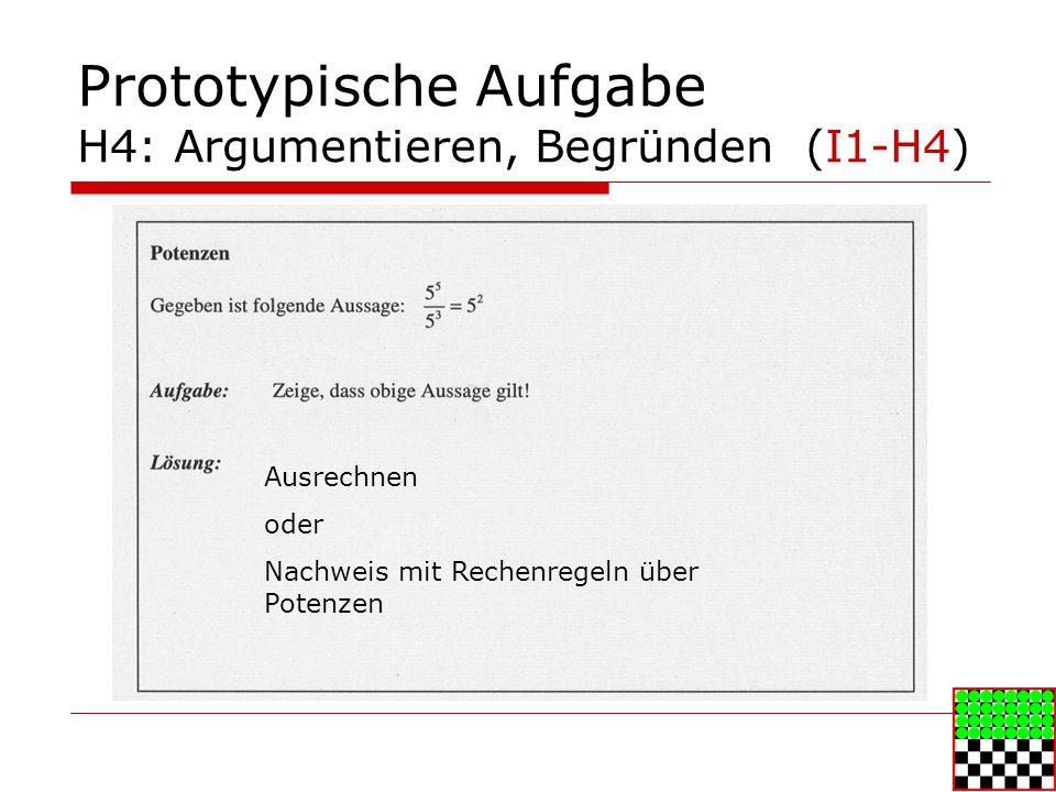 Prototypische Aufgabe H4: Argumentieren, Begründen (I1-H4)