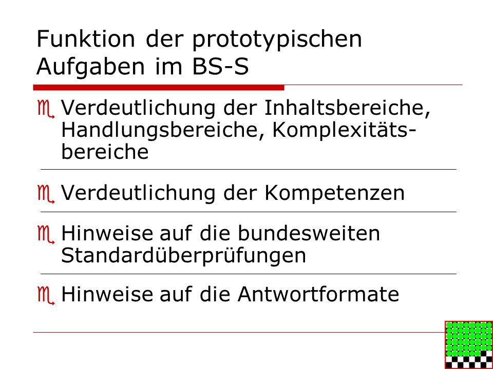 Funktion der prototypischen Aufgaben im BS-S