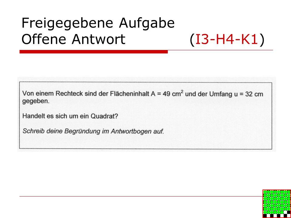 Freigegebene Aufgabe Offene Antwort (I3-H4-K1)