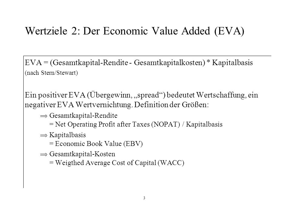Wertziele 2: Der Economic Value Added (EVA)
