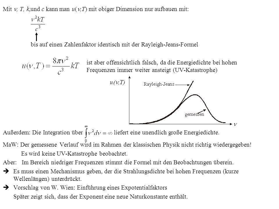 Mit n, T, k,und c kann man u(n,T) mit obiger Dimension nur aufbauen mit: