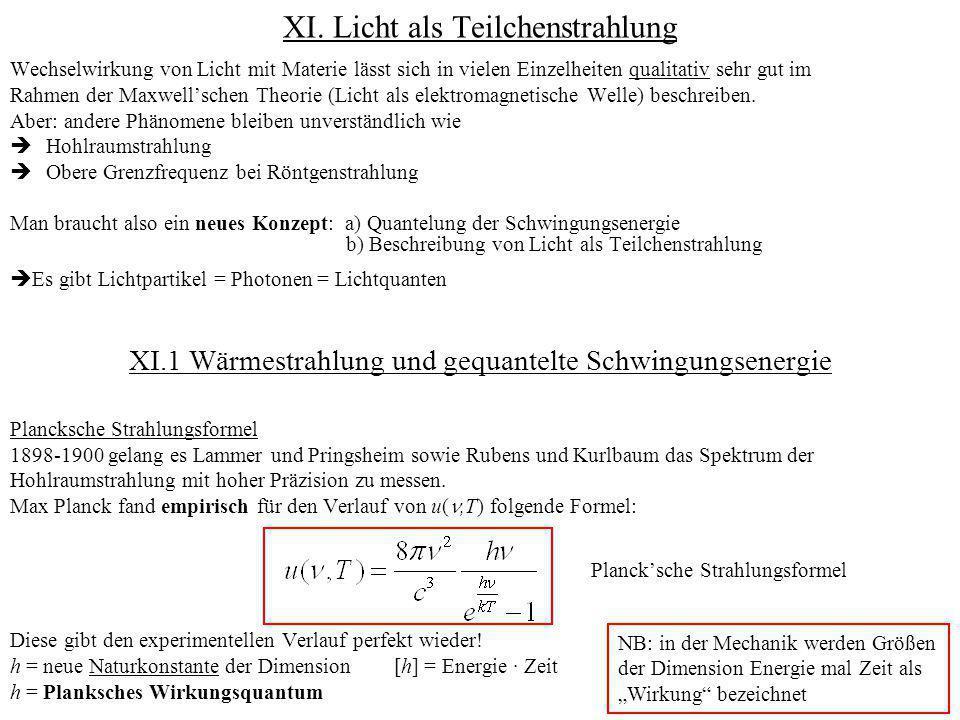 XI. Licht als Teilchenstrahlung